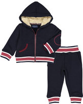 Andy & Evan Preppy Varsity Stripe Hooded Jacket w/ Sweatpants, Size 3-24 Months