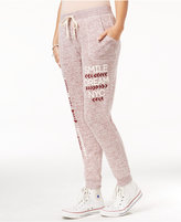 Ultra Flirt Juniors' Heathered Graphic Jogger Pants