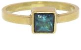 Annette Ferdinandsen Princess Cut Dark Green Tourmaline Stacking Ring - Yellow Gold