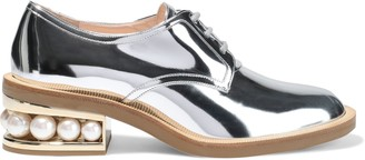 Nicholas Kirkwood Casati Faux Pearl-embellished Faux Mirrored-leather Brogues