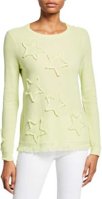 LISA TODD Multi Fray Stars Sweater with Frayed Hem