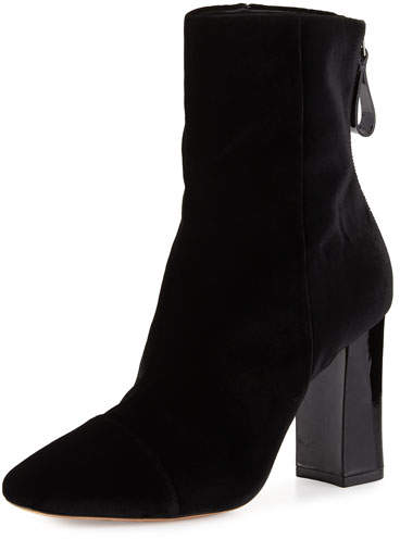 Alexandre Birman Velvet 90mm Block-Heel Bootie, Black
