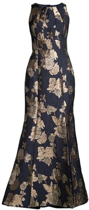 Aidan Mattox Floral Jacquard Side Slit Mermaid Gown