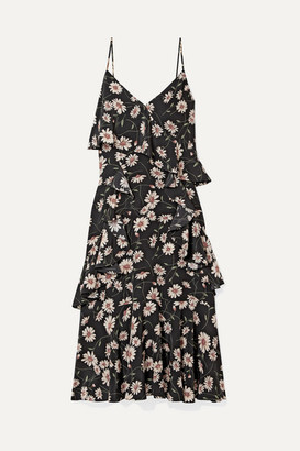 Michael Kors Collection Ruffled Floral-print Silk Crepe De Chine Dress - Black