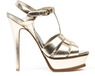 Saint Laurent Tribute Platinum Metallic Leather Sandals