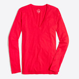 J.Crew Factory Long-sleeve featherweight slub cotton V-neck T-shirt