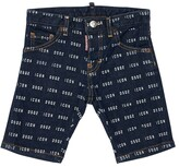 DSQUARED2 ALL OVER ICON PRINT STRETCH DENIM SHORTS
