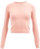Thumbnail for your product : Extreme Cashmere No. 98 Kid Cropped Stretch-cashmere Sweater - Pink