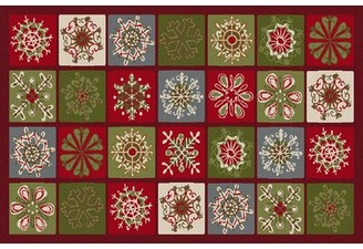 The Holiday Aisleâ® Pineville Snowflake Blocks Green/Red/Blue Area Rug The Holiday AisleA