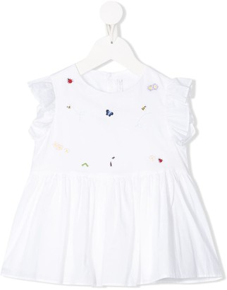 Il Gufo Ruffled Bugs-Embroidered Blouse