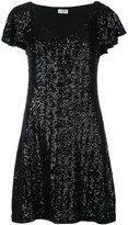 Saint Laurent sequin flutter sleeve dress - women - Polyester - M