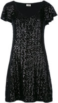 Saint Laurent sequin flutter sleeve dress - women - Polyester - S