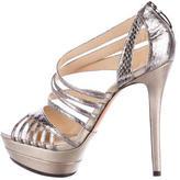 Alexandre Birman Python Metallic Platform Sandals