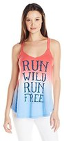 Freeze Juniors' Americana Cotton Polyester Blend Run Wild and Free Tank Top