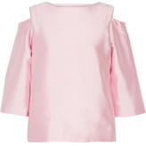 Raoul Oriole Cold-Shoulder Silk And Wool-Blend Shantung Top