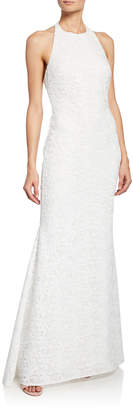Badgley Mischka Halter Low-Back Lace Gown