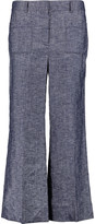 Theory Linen-blend chambray wide-leg pants