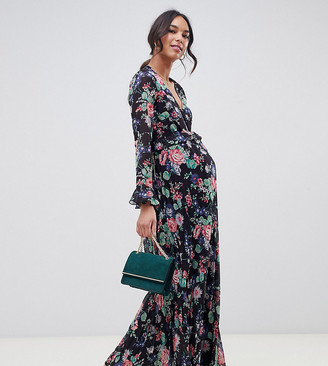 Asos DESIGN Maternity pleated wrap maxi dress with ruffle in floral print