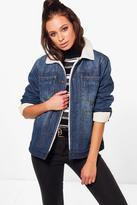 Boohoo Jenny Fully Lined Borg Denim Jacket