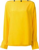 Emilio Pucci button slash neck blouse - women - Silk - 40
