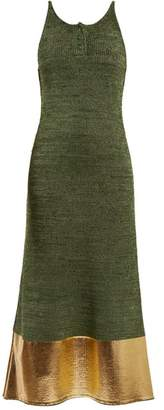 J.W.Anderson Foil-panel Sleeveless Knit Dress - Womens - Green