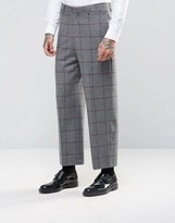 Asos Wide Leg Suit Pants in Window Pane Check