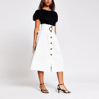 River Island Cream belted structured midi skirt