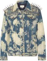 Gucci Oversized Embellished Bleached Denim Jacket - Mid denim
