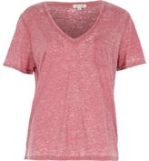 River Island Womens Red V-neck burnout T-shirt