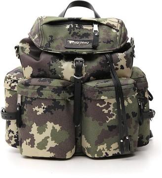 Miu Miu Cordura Camouflage Drawstring Backpack