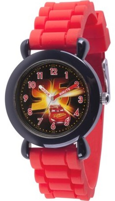 Disney Cars 3 Lightning McQueen Boys' Black Plastic Time Teacher Watch, Red Silicone Strap
