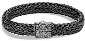 John Hardy Men's Sterling Silver Classic Chain Large Flat Chain Bracelet with Gray Diamonds