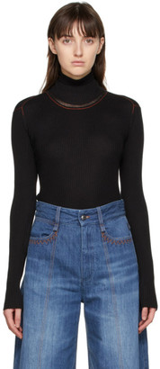 Chloé Black Wool Rib Knit Turtleneck
