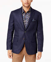 Tallia Men's Big & Tall Slim-Fit Blue/Navy Check Soft Wool Sport Coat
