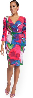 New York & Co. Ruched-Sleeve Wrap Dress - Abstract Watercolor Print