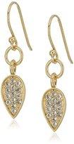 Satya Jewelry Pave White Topaz Lotus Petal Drop Earrings
