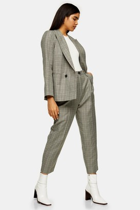 Topshop CONSIDERED Mint Check Ovoid Peg Pants