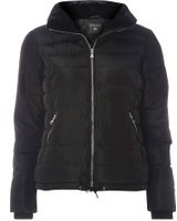 Dorothy Perkins Womens Black Faux Fur Collar Padded Jacket- Black