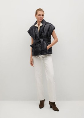 MANGO Belted leather gilet