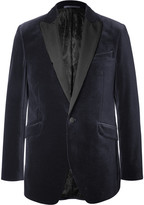 Favourbrook - Blue Slim-fit Faille-trimmed Cotton-velvet Tuxedo Jacket