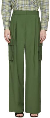 Tibi Green Wool Pleated Cargo Trousers