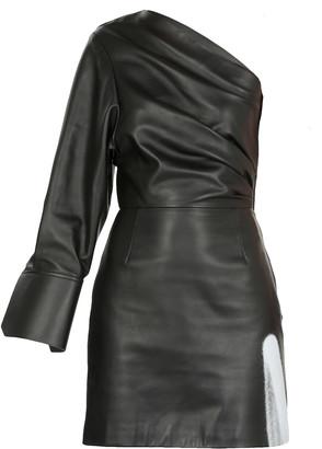 Off-White Acid One Shoulder Leather Dress