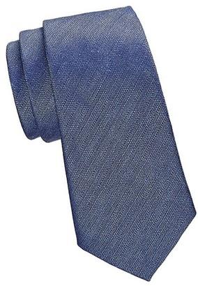 Emporio Armani Textured Solid Silk-Blend Tie
