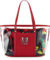Love Moschino Jungle Clear Tote Bag, Black/Red