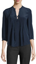 Rebecca Taylor Lace-Up Pintuck Silk Blouse, Navy