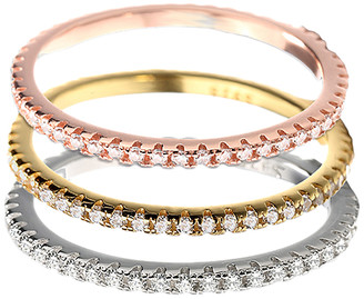 Swarovski Amy And Annette Amy and Annette Women's Rings Multi - Tri-Tone Stacked Rings Set With Crystals