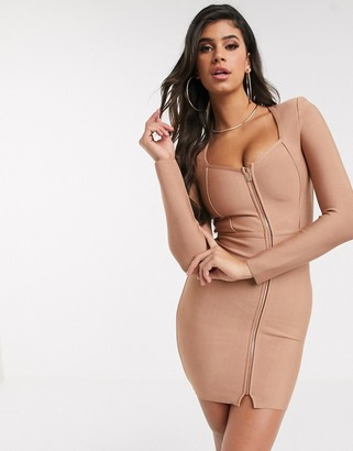 The Girlcode bandage zip front mini dress in mocha