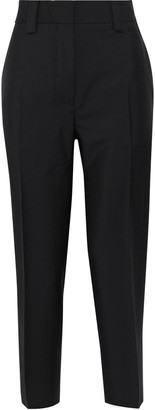 Acne Studios Cropped Wool And Mohair-blend Straight-leg Pants