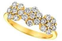 Morris & David Diamond and 14K Yellow Gold Tri-Floral Ring