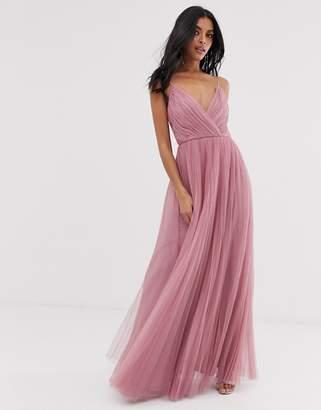 Asos Design DESIGN cami pleated tulle maxi dress-Pink